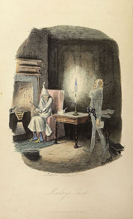 Marley's ghost, from Charles Dickens: A Christmas Carol. In Prose. Being a Ghost Story of Christmas. With Illustrations by John Leech. London: Chapman & Hall, 1843. First edition. Courtesy Wikipedia Commons.