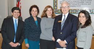 left to right): Santa Barbara School Board members Dr. Pedro Paz, Gayle Eidelson, Kate Parker, Ed Heron, Monique Limon (courtesy photo)