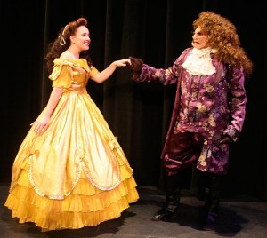 Belle (Emily Day) and Beast (Blake Bainou) play leading roles in Dos Pueblos High's production of Beauty and the Beast this weekend. (Dos Pueblos High photo)