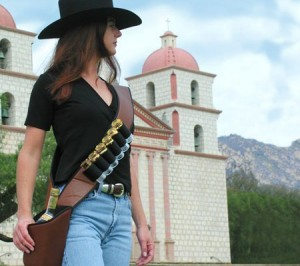 Shotcha Bandolier from AfterFiveCatalog.com (note the Santa Barbara Mission in the background)