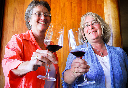 For Reka Badger, left, and Cheryl Crabtree, writing the California Directory of Fine Wineries was a labor of love — and red wine.  (Lara Cooper / Noozhawk photo)