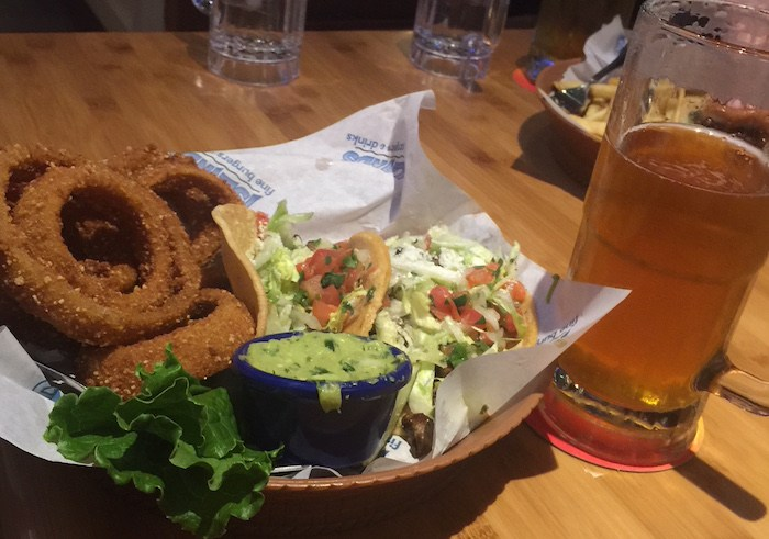 Islands Taco and Onion Rings, photo by Leslie Dinaberg.