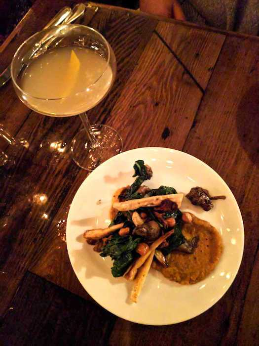"Smithy's ""Baby I'm a Star"" cocktail and roasted sunchokes with chanterelles, brown butter hazelnuts and butternut squash puree, photo by Leslie Dinaberg."