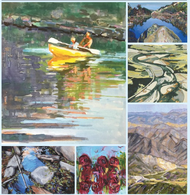 Paintings in the Wildling Museum show The River's Journey: One Year, Six Artists, 92 Miles include work by (clockwise from top left): Holli Harmon, Pamela Zwehl-Burke, Nicole Strasburg, Nina Warner, Connie Connally and Libby Smith.