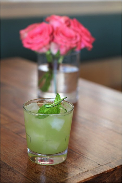 La Gritona (tequila, mescal, basil, jalapeño, cucumber and salt) is one of the new spring cocktails at S.Y. Kitchen. Photo by Elisabetta Antonacci.