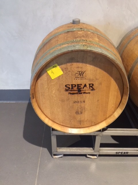 Wine barrel inside Spear Winery, photo by Leslie Dinaberg.