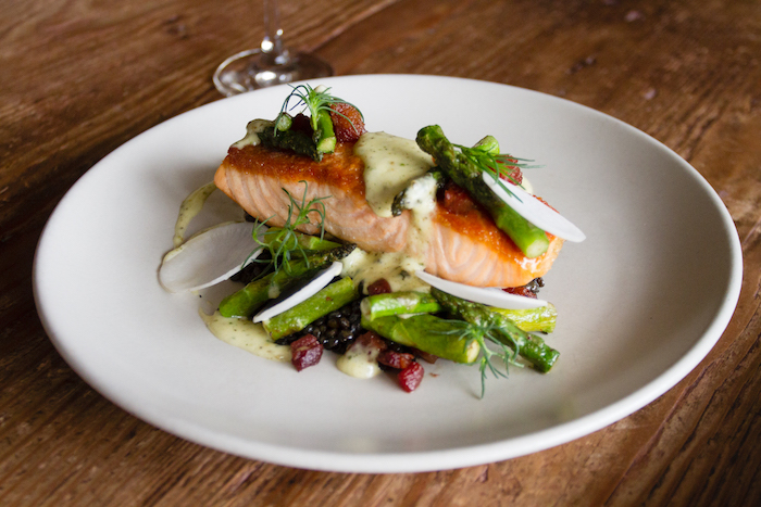 Finch & Fork's Salmon, with preparation, which included beluga lentils, asparagus, pancetta, green peppercorn hollandaise, capers and baby turnip, courtesy photo.