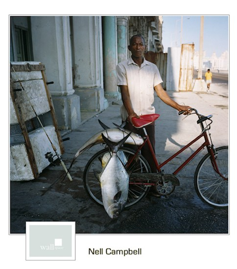 Fisherman on the Malecon, Havana 2002, 40 x 40 archival pigment print, by Nell Campbell.