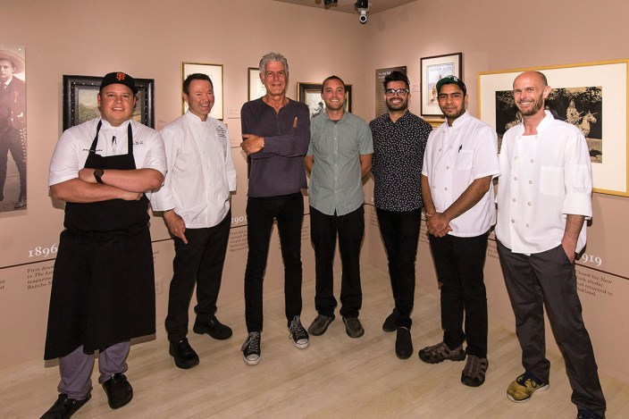 Participating local chefs with Anthony Bourdain. Photo by David Bazemore, courtesy UCSB Arts & Lectures.