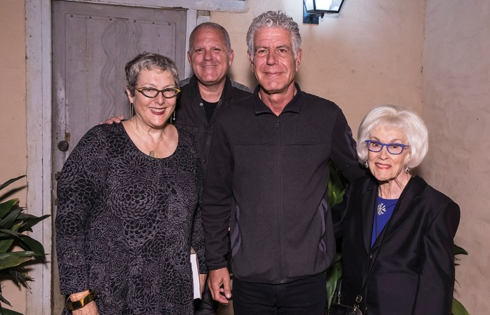 A&L supporters Lynda Weinman & Bruce Heavin and Sara Miller McCune with Anthony Bourdain. Photo by David Bazemore, courtesy UCSB Arts & Lectures.