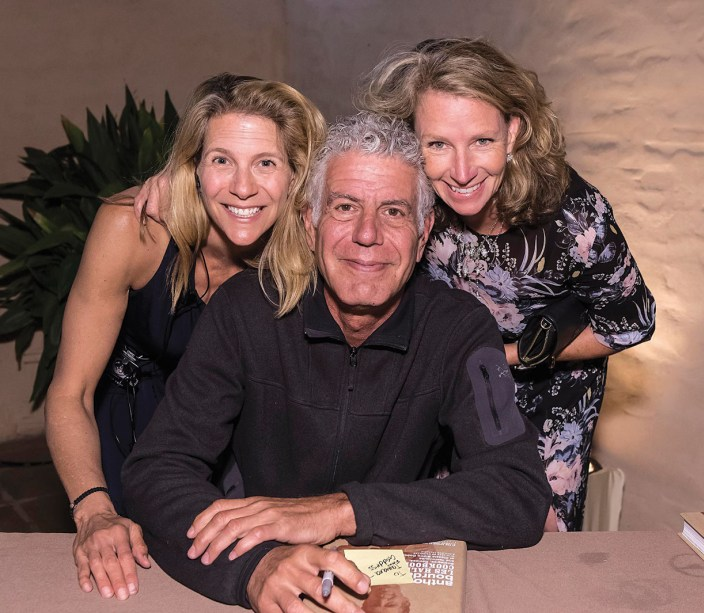 Event Planner Tamara Jensen, Anthony Bourdain and A&L Ambassador Sherry Villanueva. Photo by David Bazemore, courtesy UCSB Arts & Lectures.