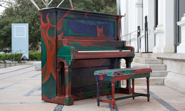 Isaac Hernandez. Untitled. Acrylic paint on piano. Exhibited outside the Santa Barbara Museum of Art. November 7, 2010. ©2010 Isaac Hernandez/IsaacArt.com.