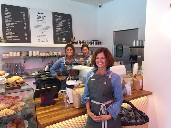 The Dart Coffee team (that's owner Erika Carter Dart in front) is ready to serve delicious, sustainably roasted coffee and treats. Photo by Leslie Dinaberg.