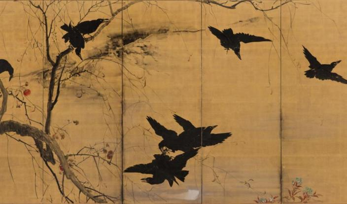 Crows in Early Winter (detail), Kishi Chikudō, Japanese, 1826-1897. Ink and color on gold ground; pair of six-panel folding screens. SBMA, Museum purchase with funds provided by Lord and Lady Ridley-Tree, Priscilla Giesen, and special funds.