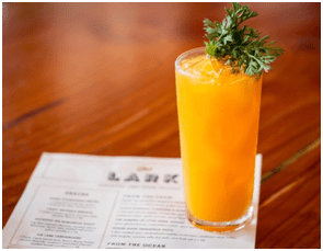 Jackrabbit with carrot, burnt sage, mezcal, aquavit, dry vermouth, lime, courtesy The Lark.