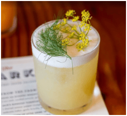California Rattlesnake with fennel-infused rye, yellow chartreuse, cardamom, lemon, fennel blossoms, courtesy The Lark.