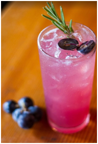La Vie en Rose concord grape-infused vodka, rosemary, lillet rouge, lemon, sparkling wine, courtesy The Lark.