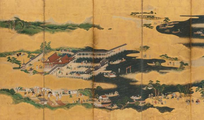 Views of Itsukushima and Wakanoura (detail), Japanese, Edo period, mid-17th century. Ink, color, and gold leaf on paper; pair of six-panel folding screens. SBMA, Museum Purchase, Peggy and John Maximus Fund.