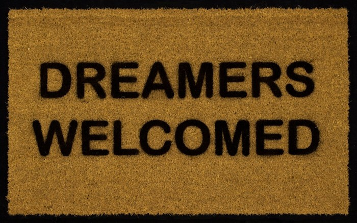 Chris Rupp, Dreamers Welcome, 2018, 18 x 30 inches, acrylic enamel paint on coir door mat, on board, on view at Sullivan Goss Gallery.