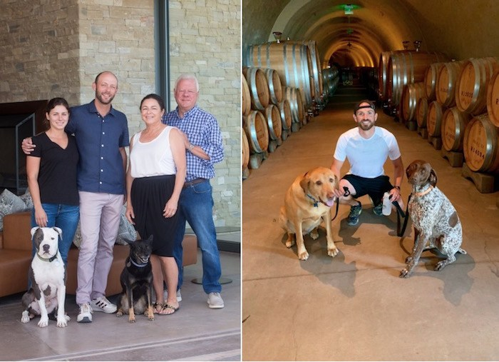 Left: Murphy family members Charlie, Anna, Matt, Pokey, Suzanne and Madison; right: Assistant Winemaker Mike Chase with Gus and Nyla. Photo courtesy of Presqu'ile.