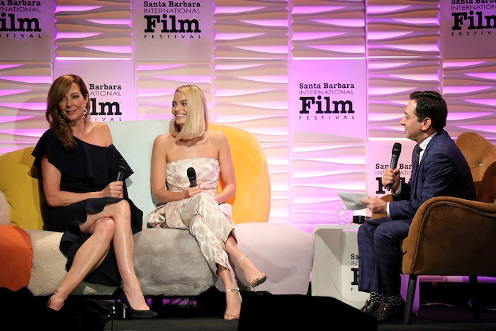 Actresses Allison Janney, Margot Robbie and moderator Scott Feinberg speak onstage at the Outstanding Performers Honoring Margot Robbie and Allison Janney Presented By Belvedere Vodka during The 33rd Santa Barbara International Film Festival at Arlington Theatre on February 8, 2018 in Santa Barbara. Photo by Rebecca Sapp, Getty Images for SBIFF.