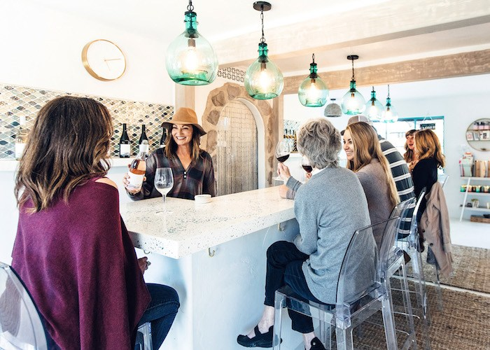 Dana Volk of D.Volk Wines is pouring at the Garagiste Festival, and offering special discounts to festival attendees at her nearby Solvang tasting room. Photo by Bottle Branding, courtesy D.Volk Wines.