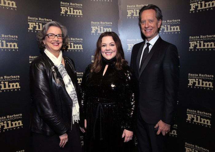 Anne Thompson, Melissa McCarthy and Richard E. Grant pose backstage at the Montecito Award honoring Melissa McCarthy during the 34th Santa Barbara International Film Festival at Arlington Theatre on February 3, 2019 in Santa Barbara, California. (Photo by Rebecca Sapp/Getty Images for SBIFF)