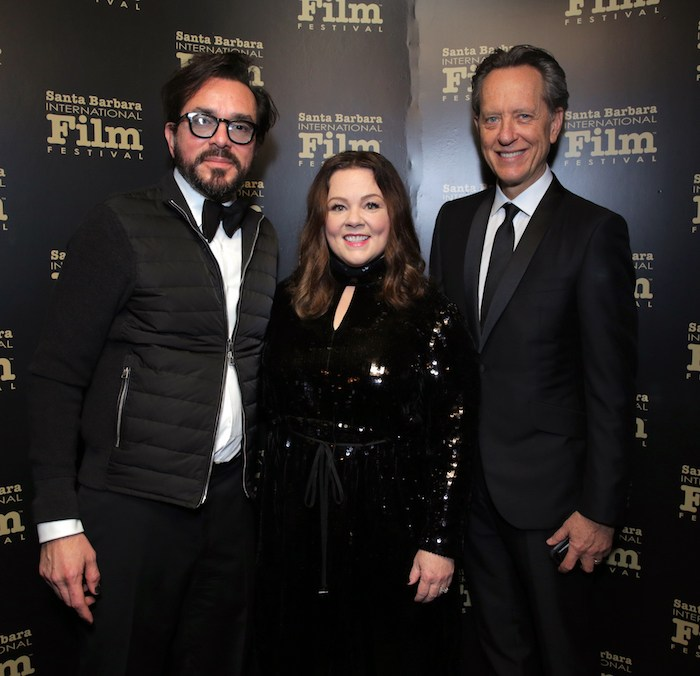 SBIFF Director Roger Durling, Melissa McCarthy and Richard E. Grant pose backstage at the Montecito Award honoring Melissa McCarthy during the 34th Santa Barbara International Film Festival at Arlington Theatre on February 3, 2019 in Santa Barbara, California. (Photo by Rebecca Sapp/Getty Images for SBIFF)