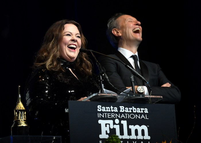 Melissa McCarthy and Richard E. Grant speak onstage at the Montecito Award honoring Melissa McCarthy during the 34th Santa Barbara International Film Festival at Arlington Theatre on February 3, 2019 in Santa Barbara, California. (Photo by Emma McIntyre/Getty Images for SBIFF)