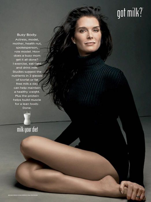 "Brooke Shields ""Got Milk"" campaign photo by Annie Leibovitz."