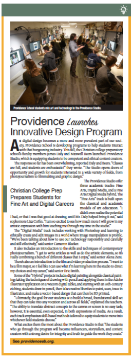 Providence Design Program, From Schools of Thought, Santa Barbara Independent, November 7, 2019.