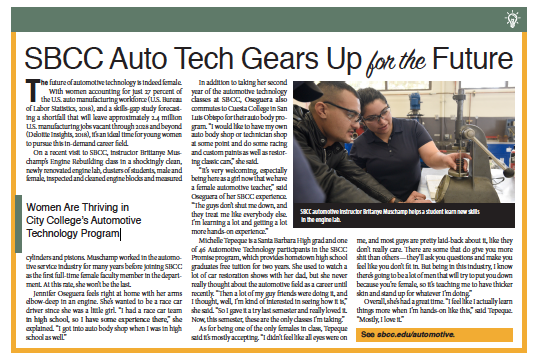 SBCC Automotive Technology, From Schools of Thought, Santa Barbara Independent, November 7, 2019.