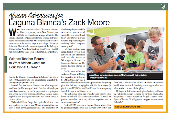 Laguna Blanca's Zack Moore, From Schools of Thought, Santa Barbara Independent, November 7, 2019.