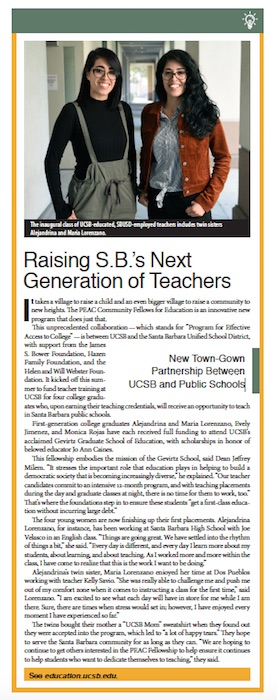 SB's Next Generation of Teachers, From Schools of Thought, Santa Barbara Independent, November 7, 2019.