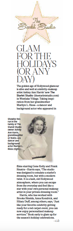 Showbiz ties run in the family of The Starlet Studio owner Ashley Ann Harris, granddaughter of 1940s–era dancer and background actor Marilyn L. Rieses. This story appeared in 805 Living, December 2019.