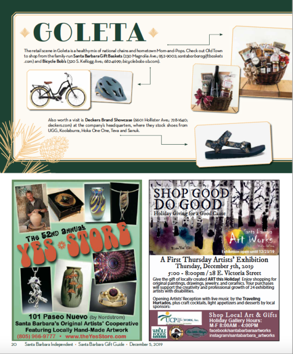 2019 Shopping Santa Barbara Gift Guide, SB Independent, December 5, 2019.