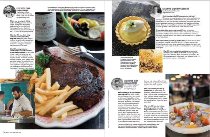 Second spread 805 Living Hotel Chefs Dish March 2020