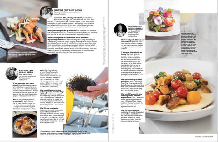 Third spread 805 Living Hotel Chefs Dish March 2020