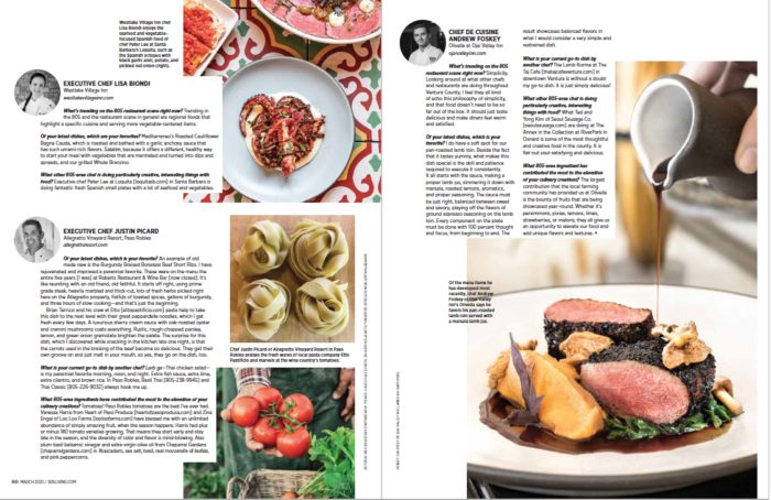 Fourth spread 805 Living Hotel Chefs Dish March 2020