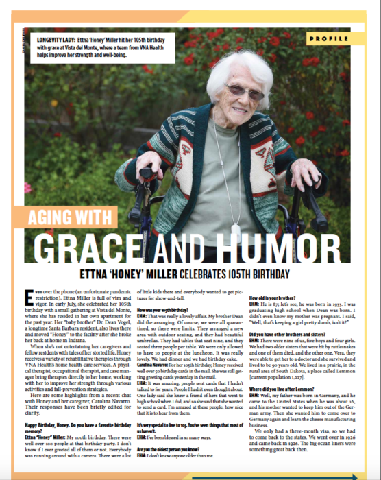 Aging With Grace and Humor, from Santa Barbara Independent, Active Aging Special Section, July 30, 2020.