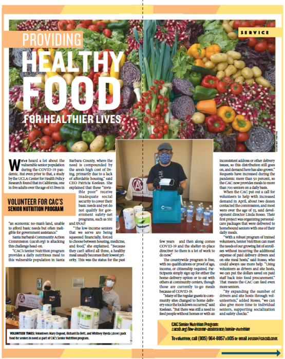 Healthy Food, from Santa Barbara Independent, Active Aging Special Section, July 30, 2020.