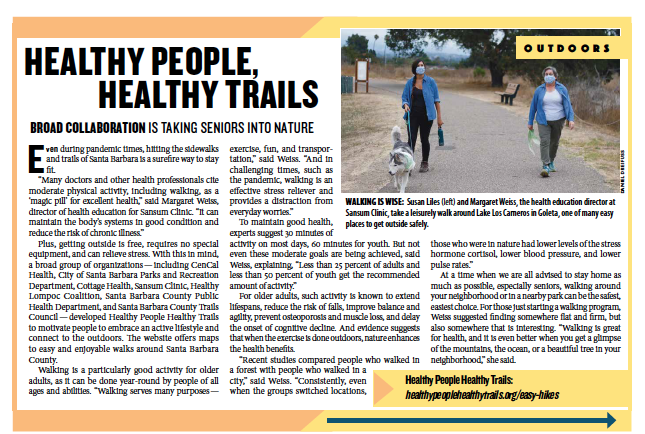 Healthy People Healthy Trails, from Santa Barbara Independent, Active Aging Special Section, July 30, 2020.