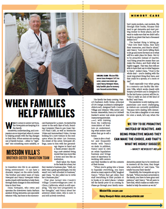 When Families Help Families, from Santa Barbara Independent, Active Aging Special Section, July 30, 2020.