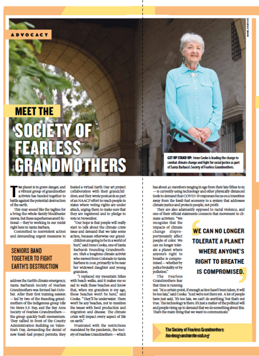 Meet the Society of Fearless Grandmothers, from Santa Barbara Independent, Active Aging Special Section, July 30, 2020.