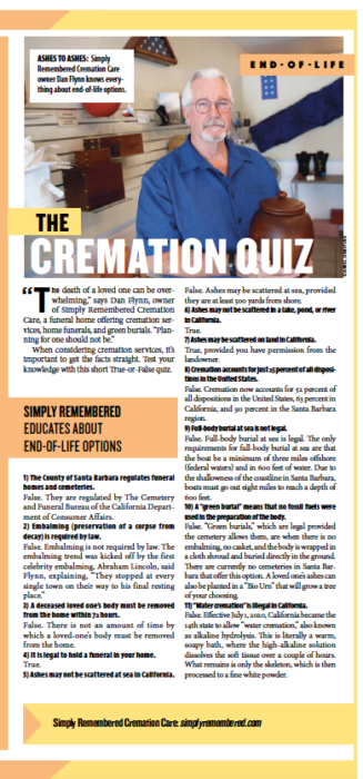 The Cremation Quiz, from Santa Barbara Independent, Active Aging Special Section, July 30, 2020.