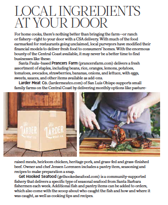 805 Living September 2020, Local Ingredients at Your Door, story by Leslie Dinaberg.