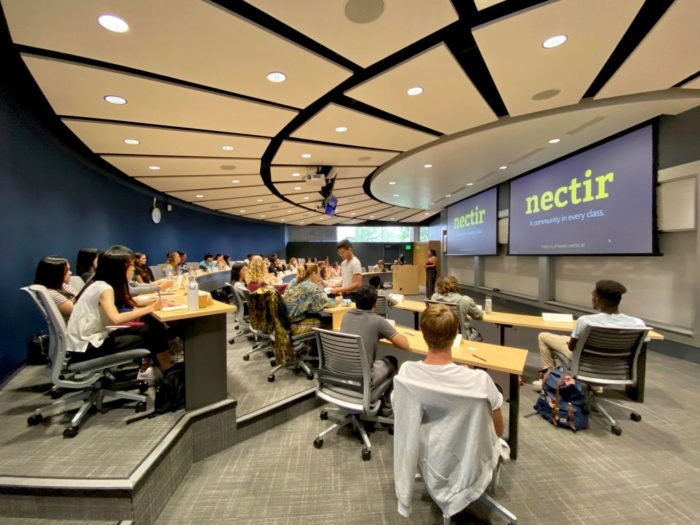 Students in UCSB's Technology Management Program listen to a recent presentation on Nectir, a new system for connecting classrooms. | Credit: Courtesy