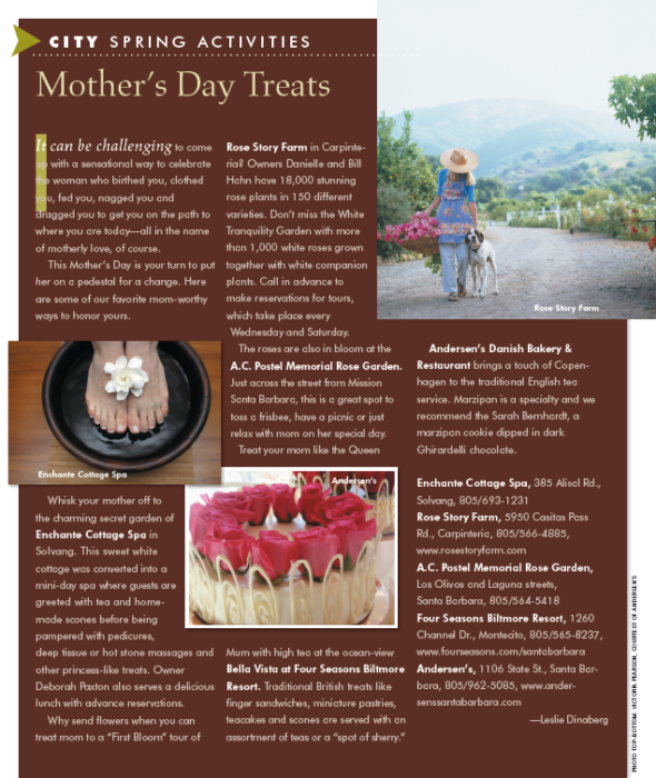 Mother's Day Treats, originally published in the spring 2010 issue of Santa Barbara Seasons Magazine.