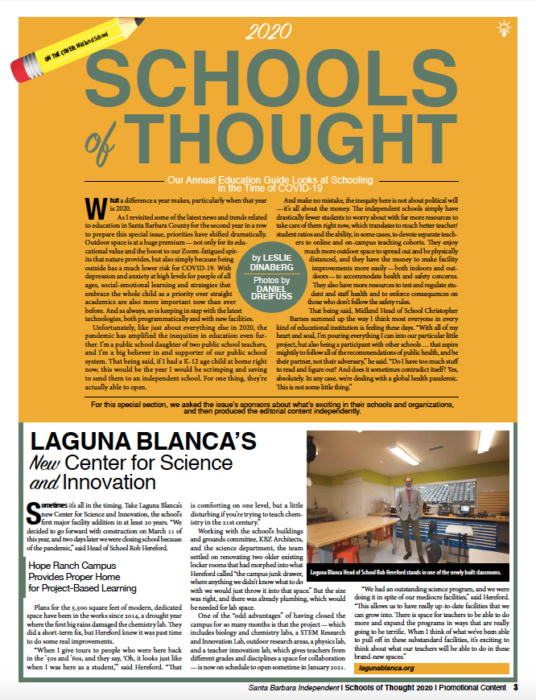 Schools of Thought introduction, originally published in the November 19, 2020 issue of Santa Barbara Independent.