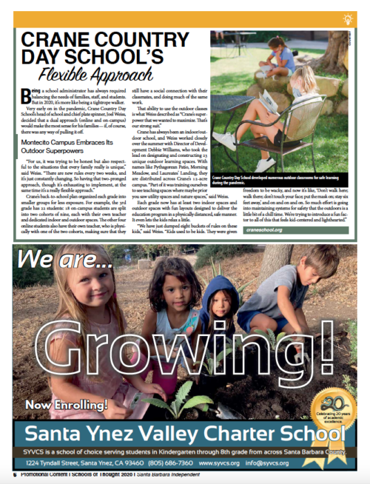 Crane Country Day School's Flexible Approach, originally published in Santa Barbara Independent on November 19, 2020.